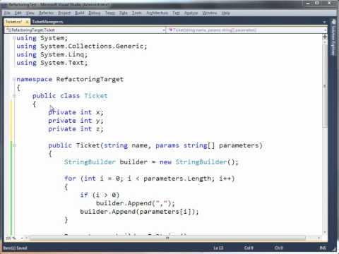 Рефакторинг и написание кода в Visual Studio 2010
